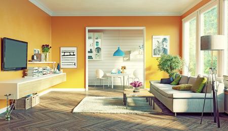 Foto de modern living room interior design. 3D rendering concept - Imagen libre de derechos