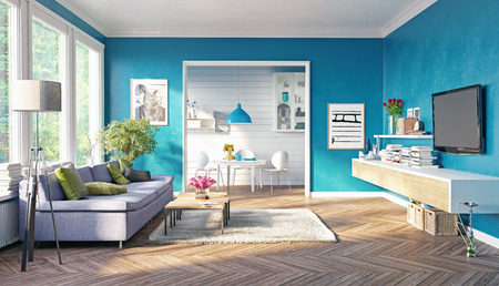 Photo for modern living room interior design. 3D rendering concept - Royalty Free Image
