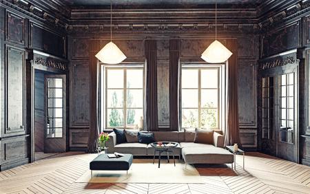 Foto de modern style black living room apartment. 3d rendering - Imagen libre de derechos