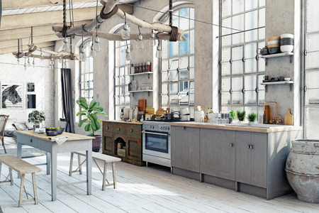 Photo pour Attic loft kitchen interior. 3d rendering concept - image libre de droit