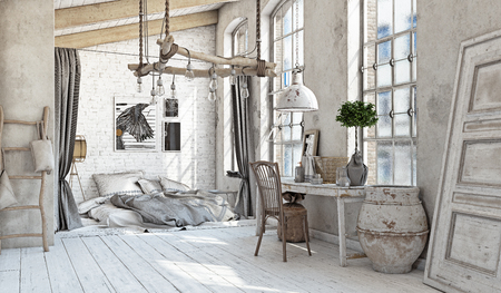Photo pour Scandinavian style interior. Bedroom attic. 3d rendering - image libre de droit