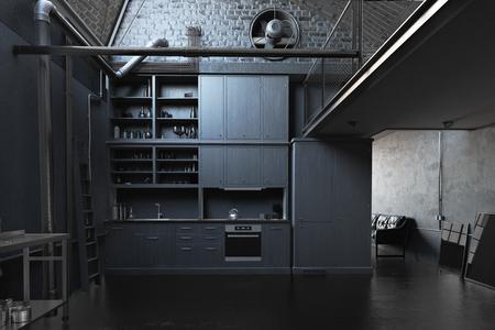 Foto de The modern black loft kitchen interior. 3d concept - Imagen libre de derechos