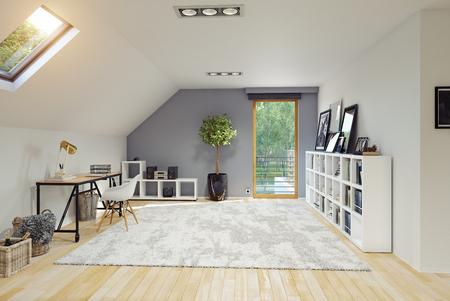Modern Attic room interior. 3D rendering concept.