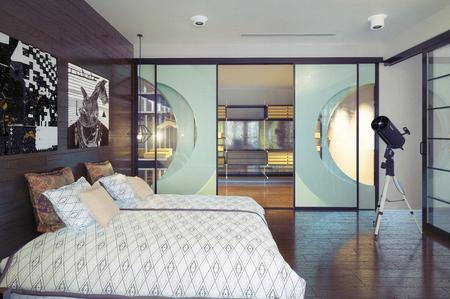Photo pour modern bedroom interior. 3d rendering design concept. - image libre de droit