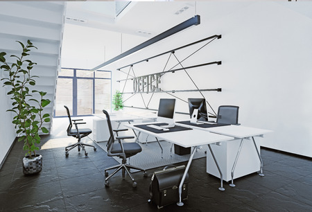 Modern office interior. 3D rendering concept