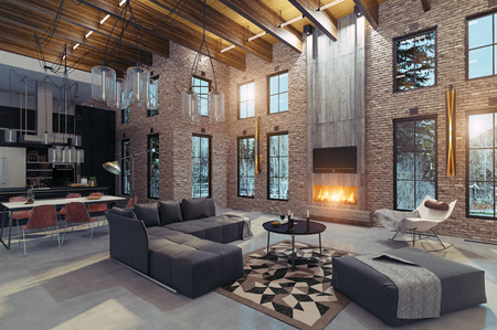 Photo for Modern luxury home interior with fireplace. 3d rendering design concept - Royalty Free Image