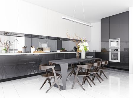 Foto de modern kitchen interior. 3d rendering concept - Imagen libre de derechos