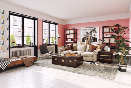 Foto de Modern living room interior. Living coral design style. 3d rendering - Imagen libre de derechos