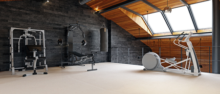 Photo pour Home gym room in the attic. 3d rendering design concept - image libre de droit