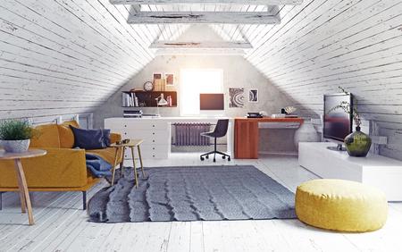 Modern attic interior.