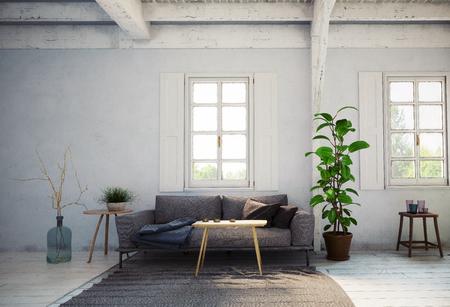 Photo pour country style living room interior. 3d rendering design concept - image libre de droit