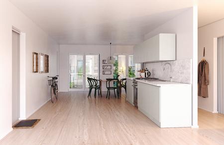 Photo pour Modern scandinavian style kitchen interior. 3d rendering design - image libre de droit
