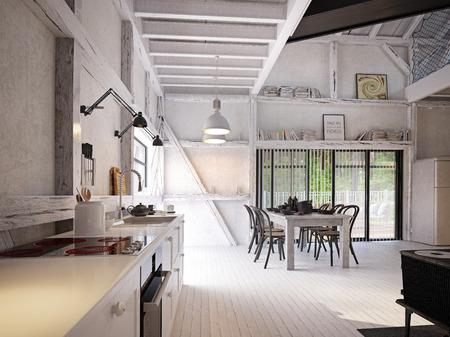 Foto de country kitchen interior. 3d design concept rendering - Imagen libre de derechos