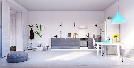 Photo pour Modern kitchen interior design. 3d rendering concept - image libre de droit