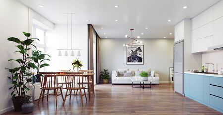 Foto de Modern  living interior design. 3d rendering concept - Imagen libre de derechos