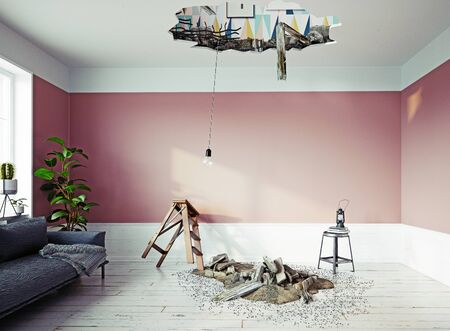 Photo pour Broken ceiling in the room. - image libre de droit