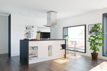 Photo pour Modern home kitchen with table in the window. 3d rendering concept - image libre de droit
