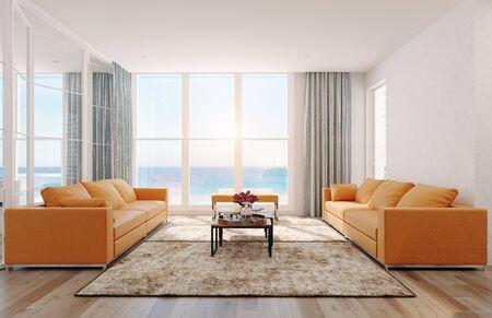 Photo pour Modern  sea view living room interior. 3d rendering design concept - image libre de droit
