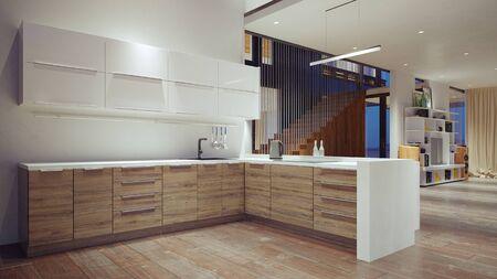 Photo pour modern domestic kitchen interior. 3d rendering design concept - image libre de droit