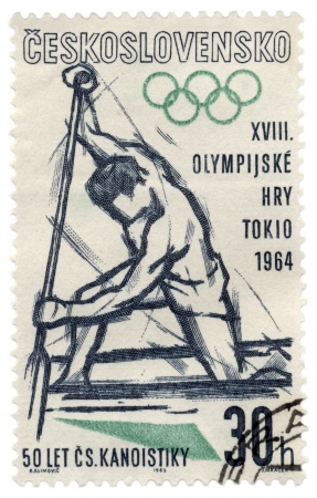 CZECHOSLOVAKIA - CIRCA 1963  A stamp printed in Czechoslovakia, shows canoe rower, devoted to in Tokyo, series, circa 1963