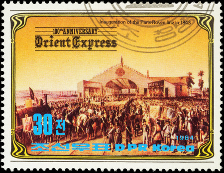 MOSCOW, RUSSIA - MAY 10, 2016: A stamp printed in North Korea, shows Inauguration of the Paris-Roven railway line in 1843, series The 100th Anniversary of the Orient Express, circa 1984