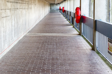 Thames Barrier passageway in London, part of the Thames Path national trail