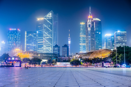 Foto für GUANGZHOU, CHINA - Sept. 28: Night view of modern buildings in Guangzhou. Many shopping malls and headquarters of big companies locate in Tianhe District, Guangzhou. - Lizenzfreies Bild