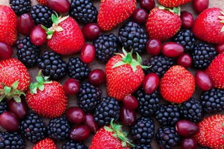 Photo pour Berries, summer fruit on wooden table. Healthy lifestyle concept, Top view horizontal, - image libre de droit
