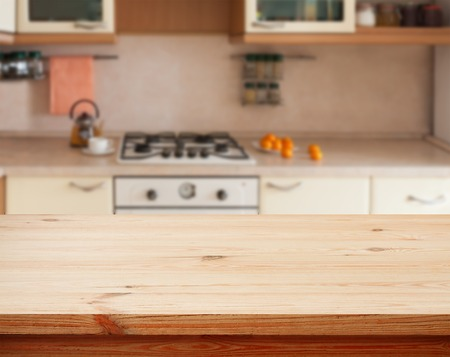 Kitchen interior empty wooden table closeup. horizontally