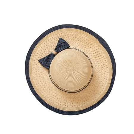 Foto de Pretty straw hat with ribbon and bow on white background. Beach hat close up top view isolated - Imagen libre de derechos