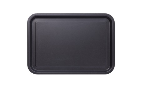 Photo pour Empty baking tray for pizza close up isolated. Top view horizontally. - image libre de droit
