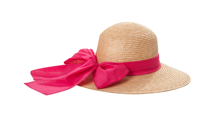 Photo pour Pretty straw hat with ribbon and bow on white - image libre de droit