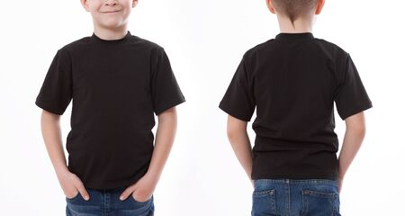 Photo pour Shirt design and people concept - close up of young man in blank black tshirt front and rear isolated. Mock up template for design print - image libre de droit