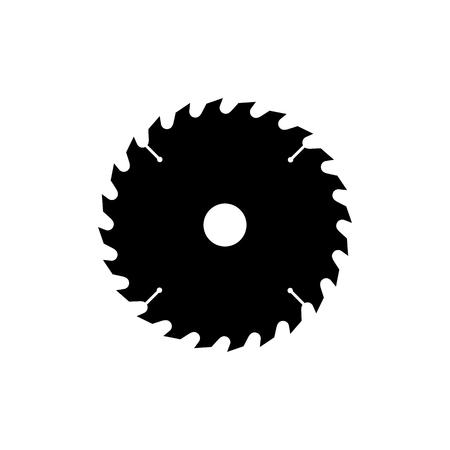 Ilustración de Circular saw blade icon. Black, minimalist icon isolated on white background. Saw blade simple silhouette. Web site page and mobile app design vector element. - Imagen libre de derechos