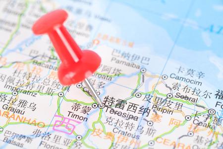 red push pin marking Brazil Teresina  for next travel Plan