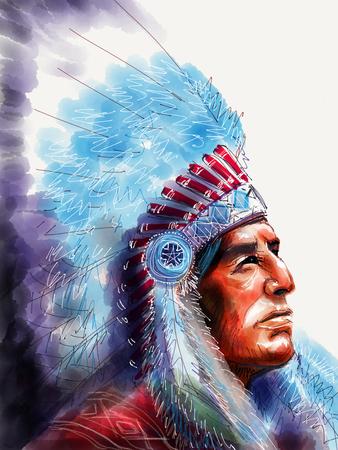Photo pour Native american portrait chief - image libre de droit