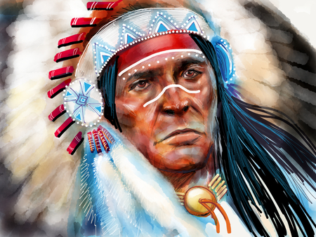 Photo for Native american portrait chief - Royalty Free Image