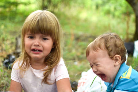 Photo pour Little baby girl crying. portrait of crying girl three years old caucasian - image libre de droit