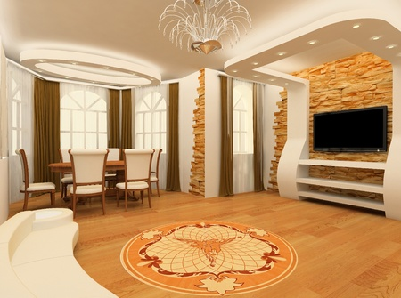 Decorative ornament with laminated flooring board and brick masonry in modern interior