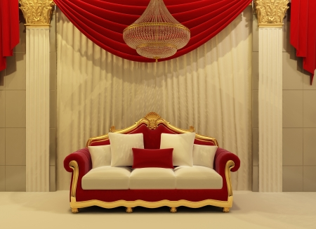 modern sofa in royal interior