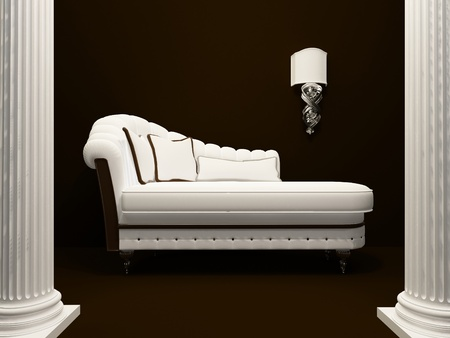 Classic sofa  in the middle of pillars