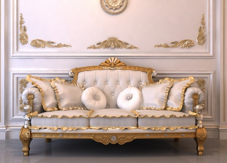 Luxurious leather sofa with pillows in Royal interior
