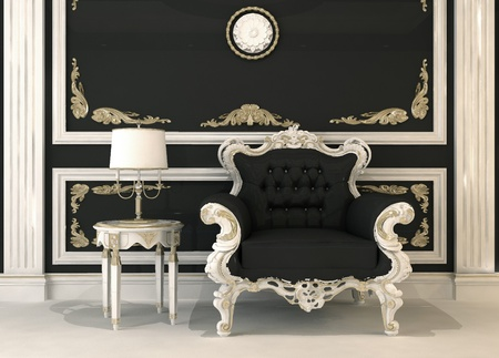 Black leather armchair in royal interior