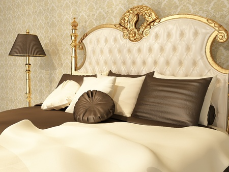Photo pour Luxurious bed with pillows and standing lamp in royal interior - image libre de droit