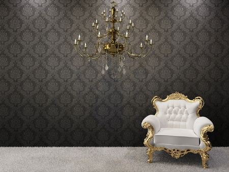 Royal interior. Golden chandelier with luxurious armchair on black ornament background.