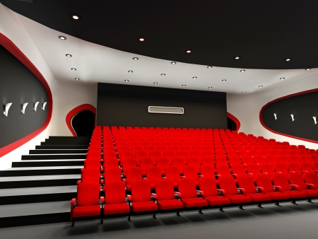 Perspective of Empty hall of cinema with comfortable red chairs