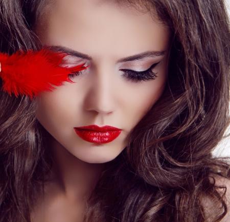 Fashion woman Beauty Portrait. Red Lips