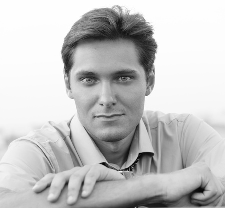 Portrait of Handsome Man, black and white photo