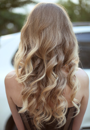 Healthy hair. Curly long hairstyle. Back view of Blond hairs. hair styling.の写真素材