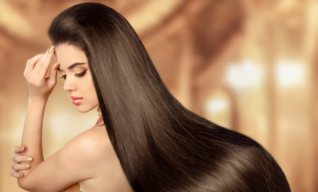 Photo for Beauty Model girl. Beautiful brunette woman with long smooth shiny straight hair. - Royalty Free Image